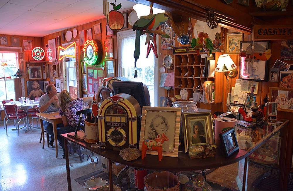 Step back in time, with wonderful memorabilia and a working soda fountain.